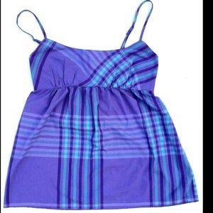Purple Plaid Tank Baby Doll Empire Top Sleeveless